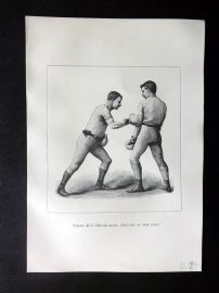 Badminton Library 1889 Boxing Print. Right-Hand Lead-Off at the Body